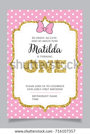 First Birthday Stock Images RoyaltyFree Images Vectors - First birthday invitation card background