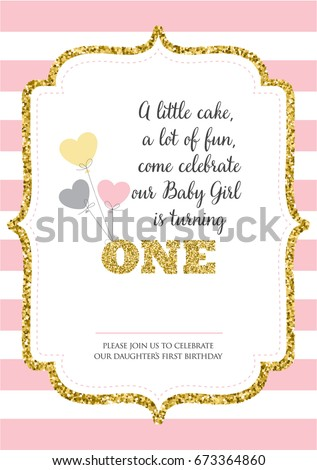 First birthday invitation girl one year stock vector royalty free first birthday invitation for girl one year old party printable vector template with pink stopboris Images