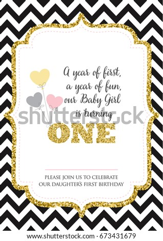 First birthday invitation girl one year stock vector 673431679 first birthday invitation for girl one year old party printable vector template with stripes stopboris Gallery