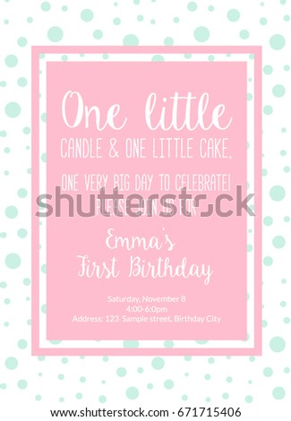 First birthday invitation girl first birthday stock vector royalty first birthday invitation girl first birthday party invitation one year old pink printable invite filmwisefo