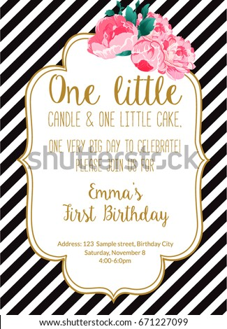 First birthday party invitation girl text stock vector 671227099 first birthday party invitation girl with text one little candle and one little cake stopboris Gallery