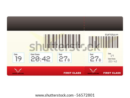 first class plane ticket or boarding pass in red with barcode - stock vector