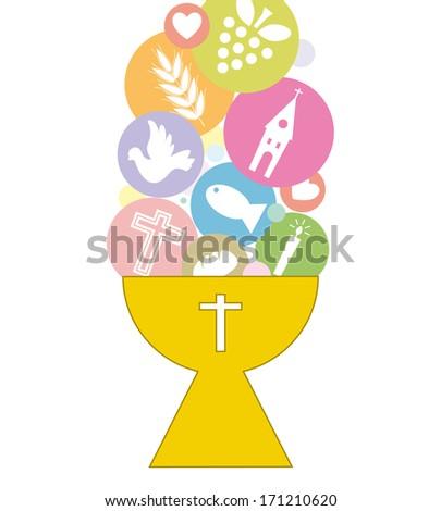 First Communion Invitation Card  - stock vector