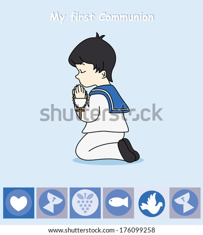 First Communion Invitation Card. boy praying - stock vector