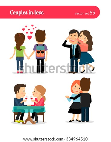 First date and romantic dinner, happy couple and slow dance - stock vector