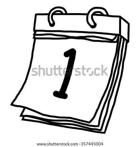 first date calendar / cartoon vector and illustration, black and white, hand drawn, sketch style, isolated on white background. - stock vector