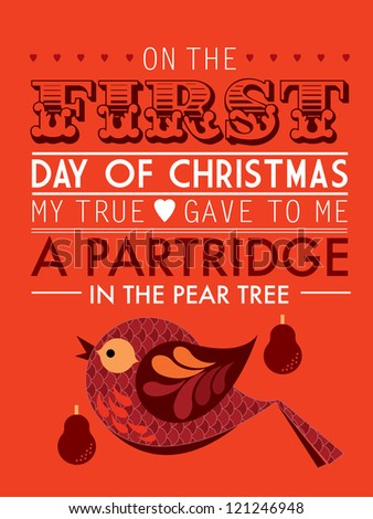first day of the twelve days of christmas template vector/illustration -  a partridge in the pear tree - stock vector