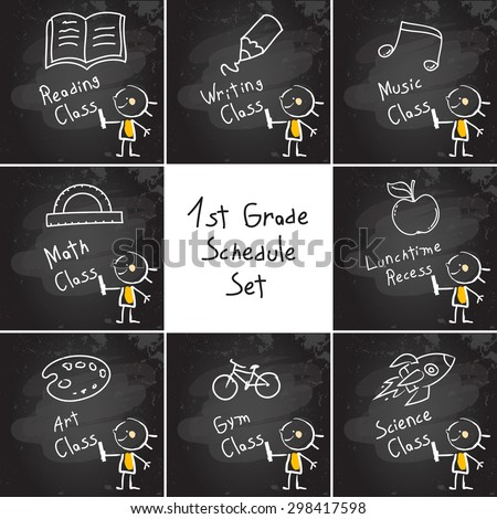 First grade schedule education set, collection, hand drawn on blackboard with chalk. Hand drawing and writing doodle style, sketchy illustration.  - stock vector