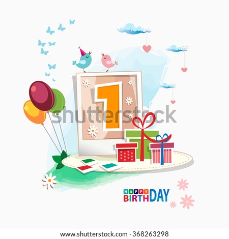First Happy Birthday color card. Celebration background with number one, balloon, gift boxes and place for your text. vector illustration - stock vector