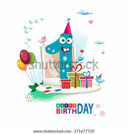 First Happy Birthday color card. Happy First birthday card vector with gift box and balloons - stock vector