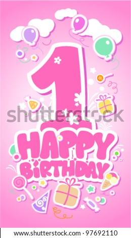 First Happy Birthday pink card. - stock vector