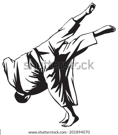 First judo fight stage four - stock vector