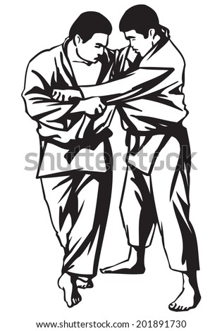 First Judo fight stage two  - stock vector