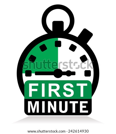 first minute sign with stopwatch - stock vector