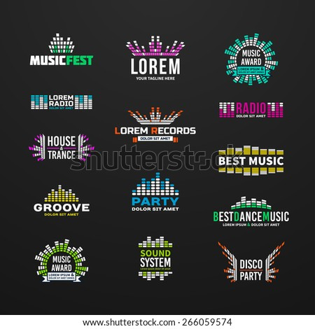 First music equalizer emblem elements set separated - stock vector