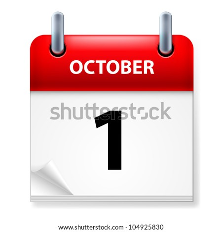 First October in Calendar icon on white background - stock vector