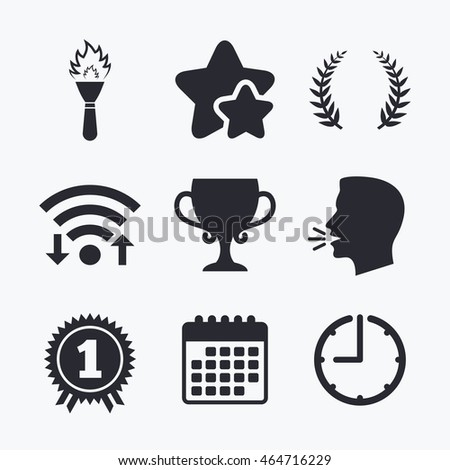 First Place Award Cup Icons Laurel Stock Vector 464716229 Shutterstock