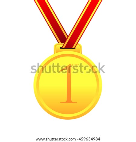 First place award gold medal vector illustration
