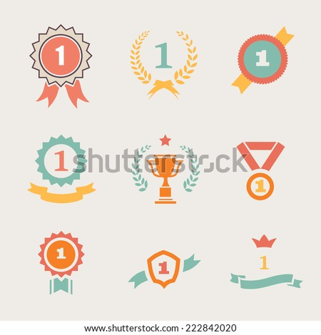 First Place Badges and  Ribbons vector illustration - stock vector