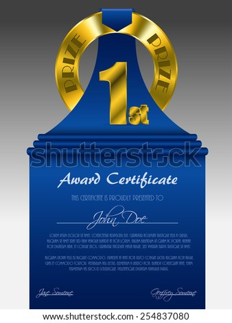 First place gold prize award certificate with blue ribbon - stock vector