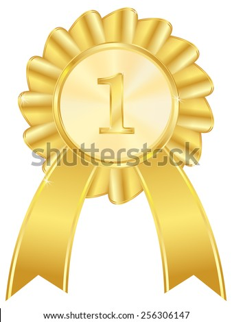 First place golden award ribbon - vector drawing isolated on white background
