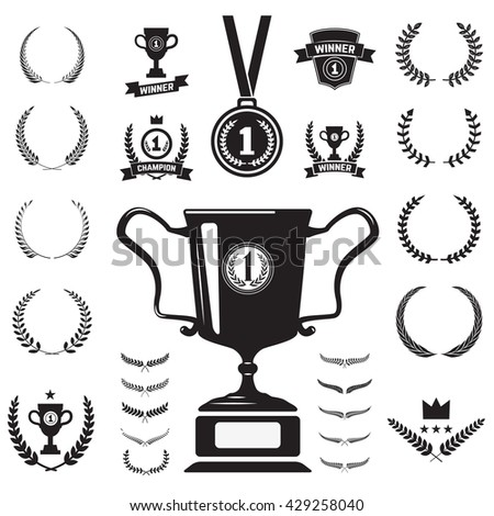 First place medal and labels monochrome icons and design elements.