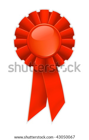 First place red ribbon, vector - stock vector