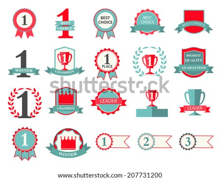 First Place Winner and Best Choice ribbons and badges, vector il - stock vector