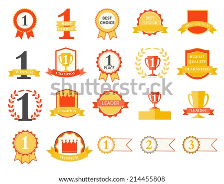 First Place Winner and Best Choice ribbons and badges, vector illustration - stock vector