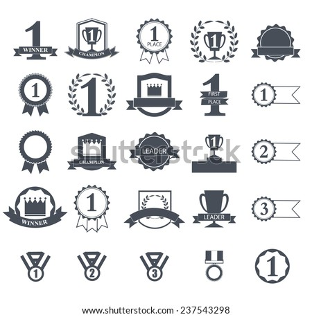 First Place Winner awards icons set,  ribbons and badges, vector illustration  - stock vector
