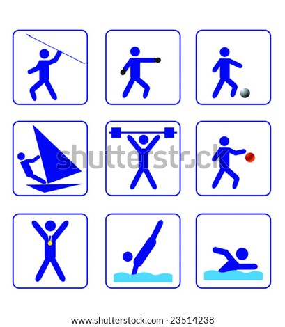 First sports stylize icons set in vector - abstract emblems. Jpeg version also available