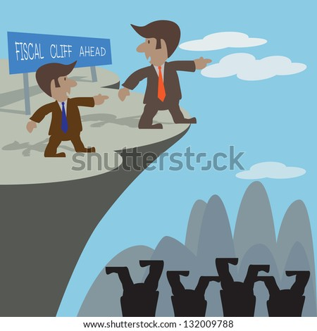 Fiscal cliff financial crisis illustrated to businessman discussion. - stock vector