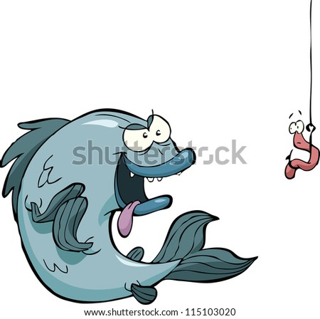 Fish and a worm on a hook vector illustration - stock vector