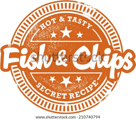 Fish and Chips Menu Design Stamp - stock vector