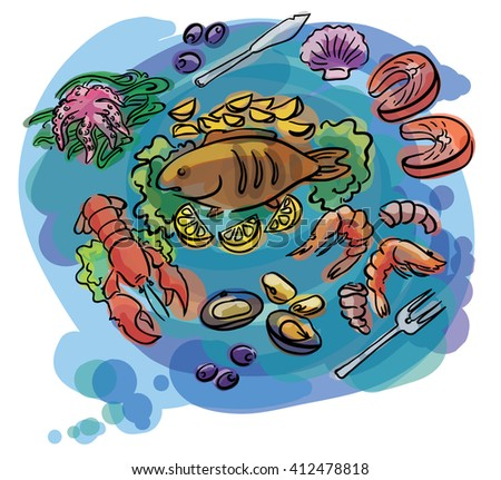 fish and seafood set of sketch illustration