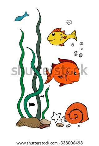fish and seaweed - stock vector