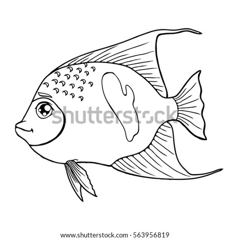 Fish Arabian Angel Black Contour On A White Background Isolated. Marine  Animal. Coloring Page