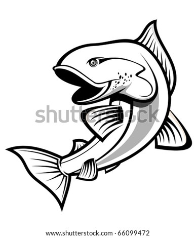 Fish as a fishing symbol isolated on white - also as emblem or logo template. Jpeg version also available in gallery - stock vector