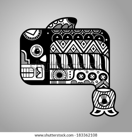 Fish. Black and white graphic image of the Maya. Maya designs. Maya design elements. - stock vector
