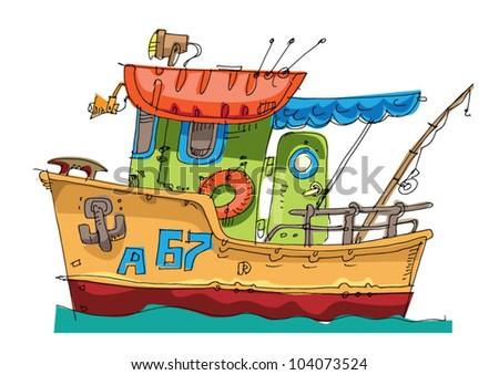 Fishing Boat Cartoon Cartoon Fishing...