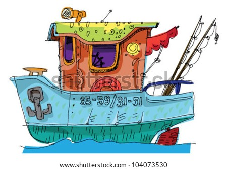 fish-boat - cartoon - caricature - stock vector