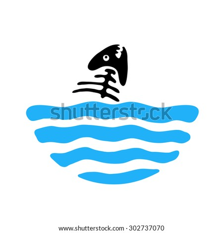 fish bone in water, vector logo illustration - stock vector