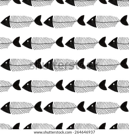 Fish bone. Seamless watercolor pattern with fishbones on the white background, aquarelle. Vector illustration. Hand-drawn decorative element. Real watercolor painting