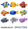 fish cartoon set - stock photo