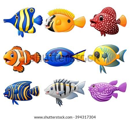 fish cartoon set - stock vector