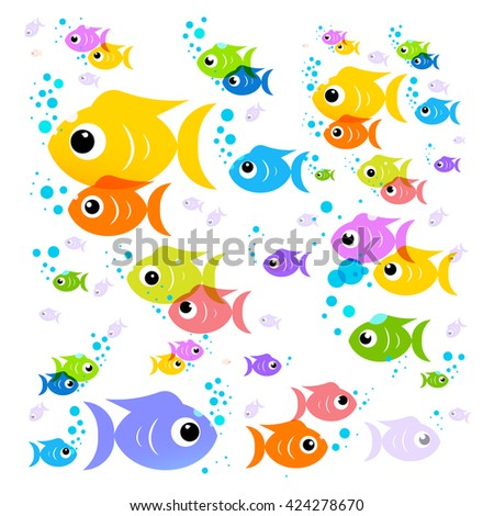 Fish Cartoon. Vector Colorful Fish. Flat Design Transparent Flock of Fish Isolated on White Background.