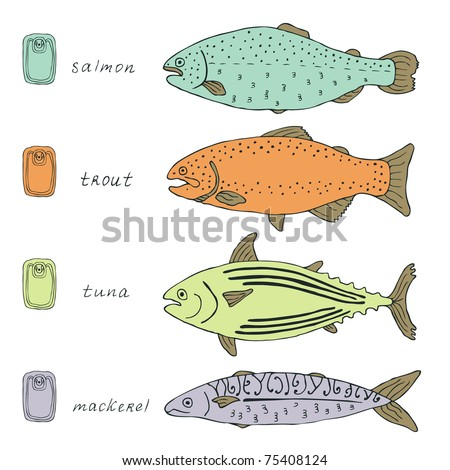 fish colorful collection - stock vector