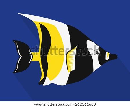 Fish design over blue background, vector illustration. - stock vector