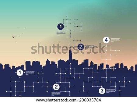 Fish eye View of a City Skyline - Vector Illustration - stock vector
