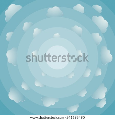 Fish eye view of cloudy bright sky - stock vector